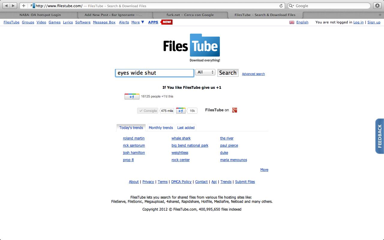 furk.net, in modo da visualizzare i file presenti solo sul sito furk ...